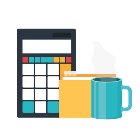 set of icons with calculator in white background vector illustration design