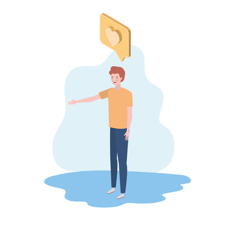 man standing with speech bubble on white background vector illustration design  イラスト・ベクター素材
