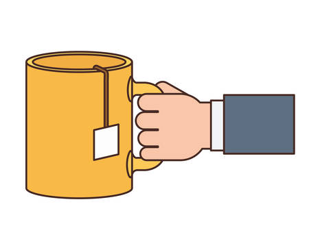 hand with cup of coffee with white background vector illustration design  イラスト・ベクター素材