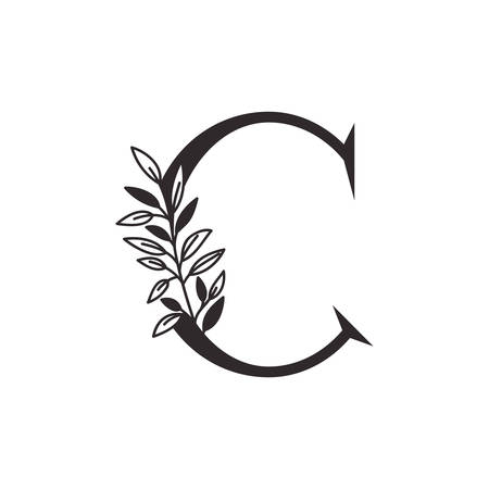 letter C of the alphabet with leaves vector illustration design