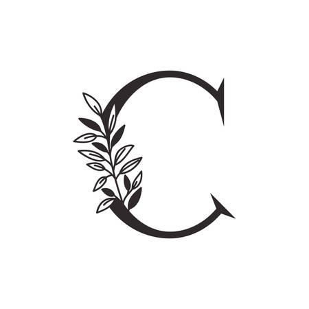 Lettre C de l'alphabet avec des feuilles de conception d'illustration vectorielle