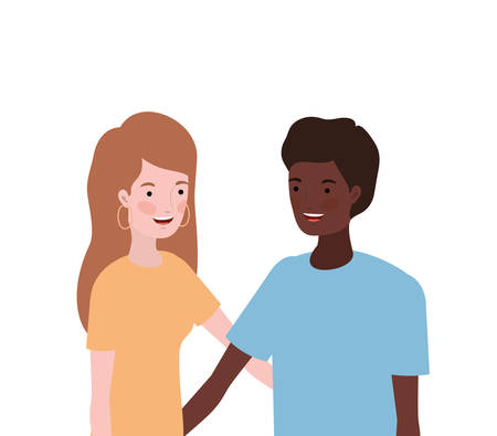 couple of people smiling and hugging each other vector illustration design Illustration