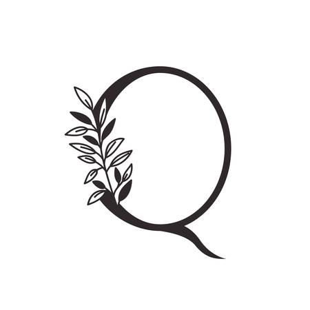 letter Q of the alphabet with leaves vector illustration design