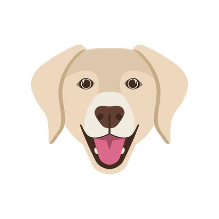 head of cute labrador retriever dog on white background vector illustration design Ilustração