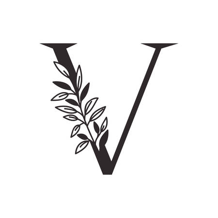 letter V of the alphabet with leaves vector illustration design