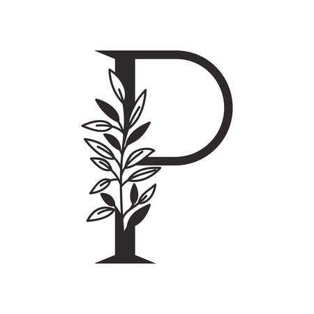 Lettre P de l'alphabet avec des feuilles de conception d'illustration vectorielle