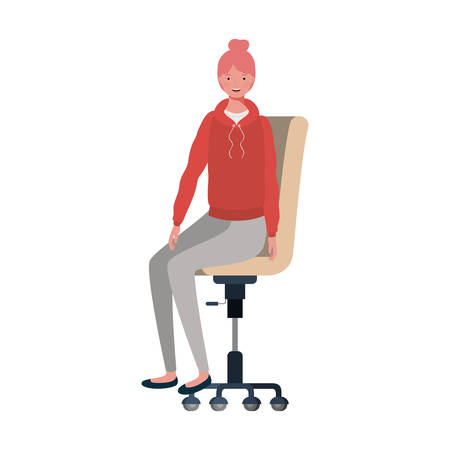woman with sitting in office chair on white background vector illustration design