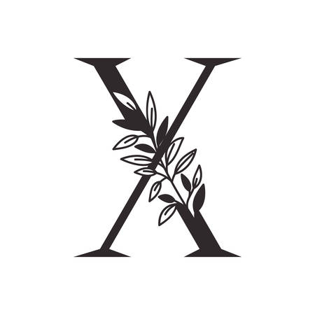 letter X of the alphabet with leaves vector illustration design