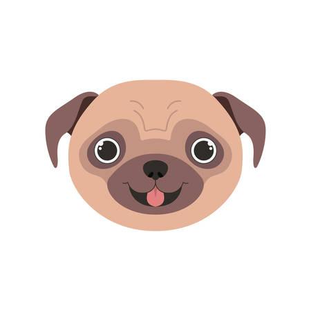 head of cute pug dog on white background vector illustration design Ilustração