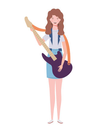 young woman with electric guitar on white background vector illustration design