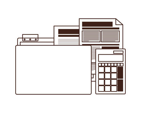 folder with office objects on white background vector illustration design  イラスト・ベクター素材