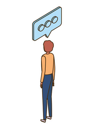 man of back position with speech bubble on white background vector illustration design  イラスト・ベクター素材