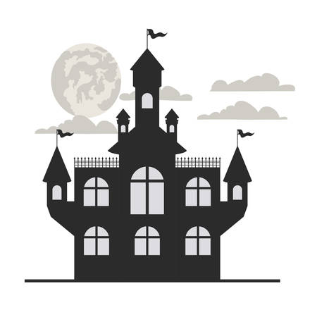 scary halloween castle on white background vector illustration design