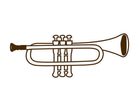 musical instrument trumpet on white background vector illustration design