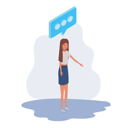 woman standing with speech bubble on white background vector illustration design  イラスト・ベクター素材