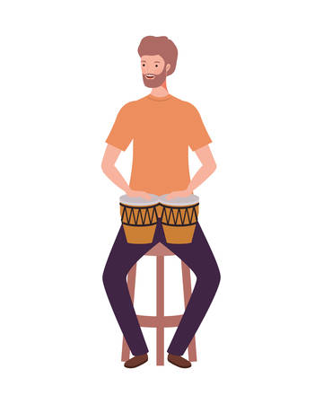 young man with congas on white background vector illustration design