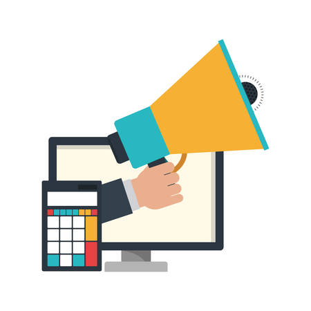 hand with megaphone and computer screen vector illustration design Stok Fotoğraf - 130074353