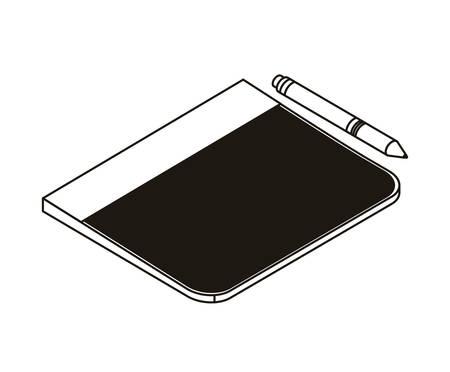 silhouette of tablet on white background vector illustration design