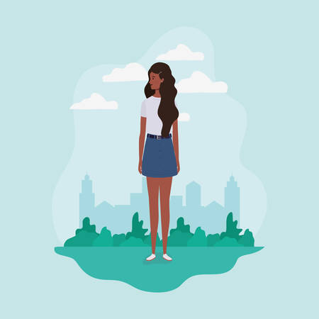 young and beautiful afro girl in the landscape character vector illustration design