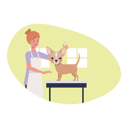 young woman with dog in pet groomer vector illustration design Ilustração