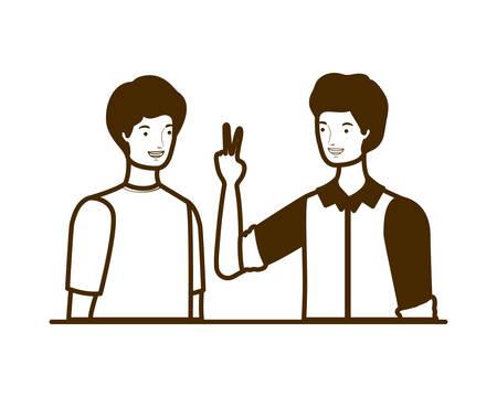 silhouette of men on white background vector illustration design