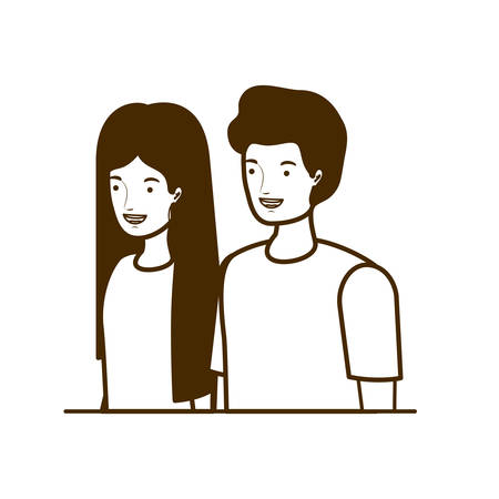 silhouette of couple of people smiling on white background vector illustration design Stok Fotoğraf - 130074894