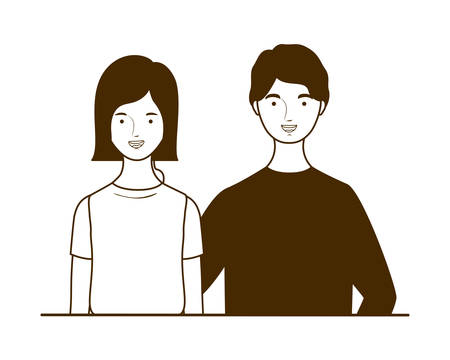 silhouette of couple of people standing on white background vector illustration design