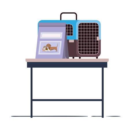 pet transport box and pet food bag on table vector illustration design Ilustração