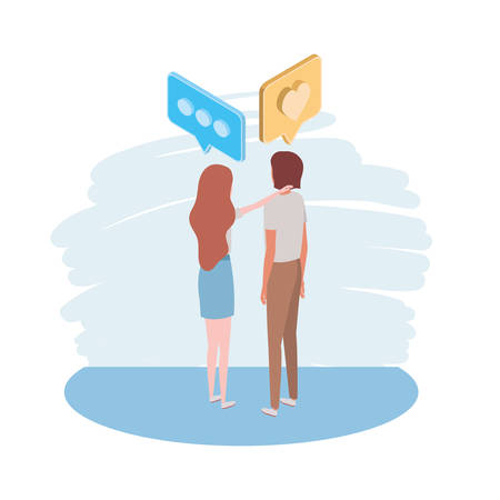 couple of people standing with speech bubble on white background vector illustration design  イラスト・ベクター素材