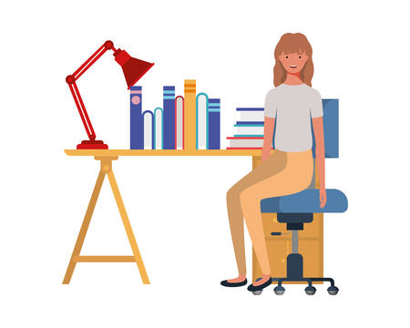 woman sitting in the work office with white background vector illustration design Ilustração