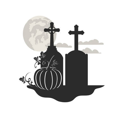 tombstone with pumpkin on white background vector illustration design