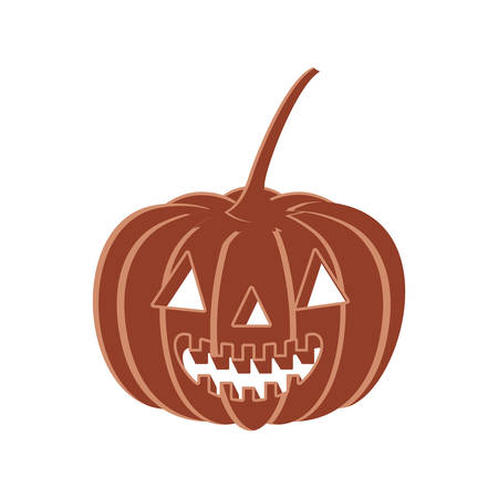 halloween pumpkin with scary face on white background vector illustration design Illustration