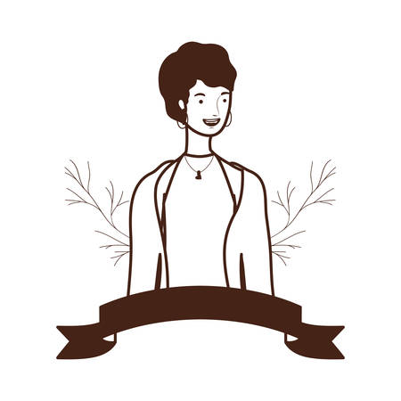 silhouette of woman with branches and leaves background vector illustration design