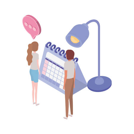 couple of people with office lamp and calendar on white background vector illustration design
