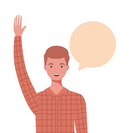 man with speech bubble avatar character vector illustration design Ilustrace