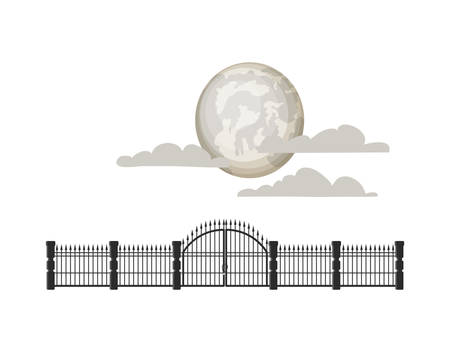 full moon with clouds and iron railings vector illustration design