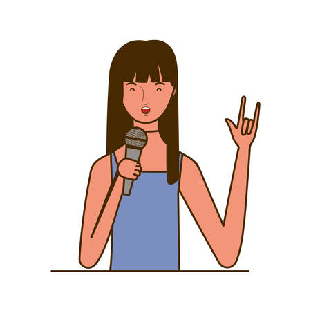 young woman with microphone with stand on white background vector illustration design