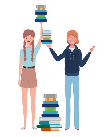 women standing with stack of books on white background vector illustration design 向量圖像