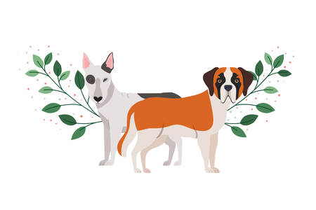 cute and adorable dogs on white background vector illustration design 일러스트