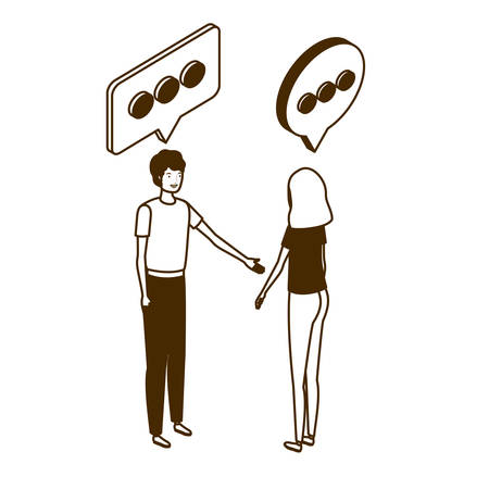 couple of people standing with speech bubble on white background vector illustration design Ilustração