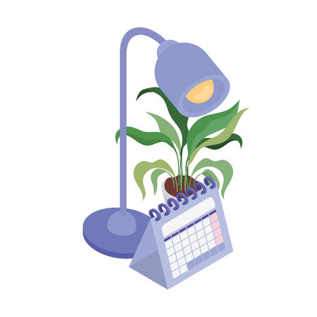 office lamp and calendar on white background vector illustration design Ilustracja