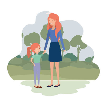 woman with daughter in landscape avatar vector illustration design