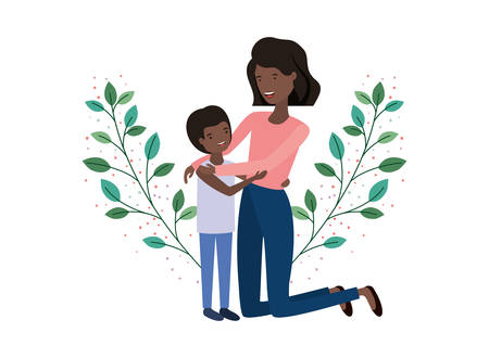 woman with son avatar character vector illustration design