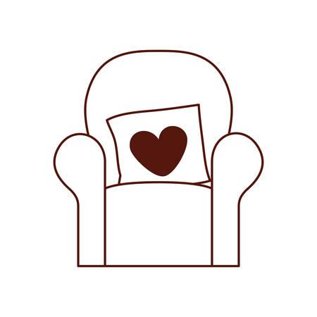 livingroom sofa with love pillows vector illustration design