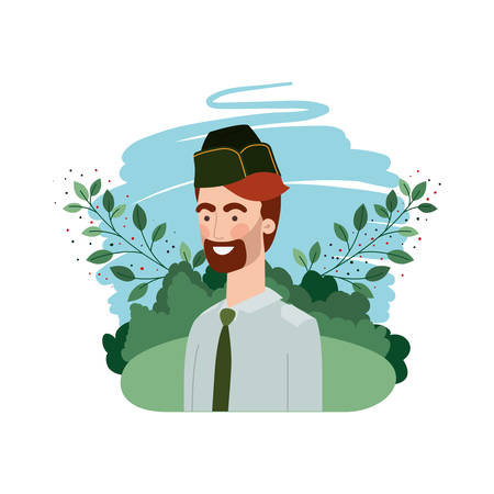 man soldier of war with landscape background vector illustration design