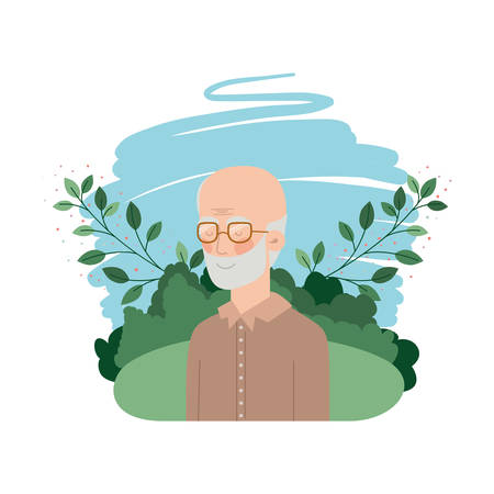 grandfather with landscape avatar character vector illustration design Иллюстрация