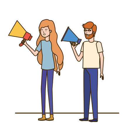 young couple in with megaphone in the hand vector illustration design Фото со стока - 130150628
