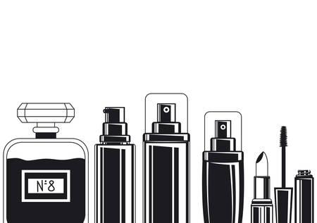 splash and fragances bottles make up icons vector illustration design