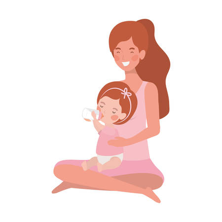 cute pregnancy mother seated with little girl characters vector illustration design Ilustrace