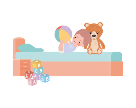 cute little boy baby with bear teddy in bedroom vector illustration design Stock Illustratie